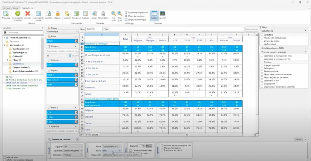 Harmonie, logiciel de traitement de données
